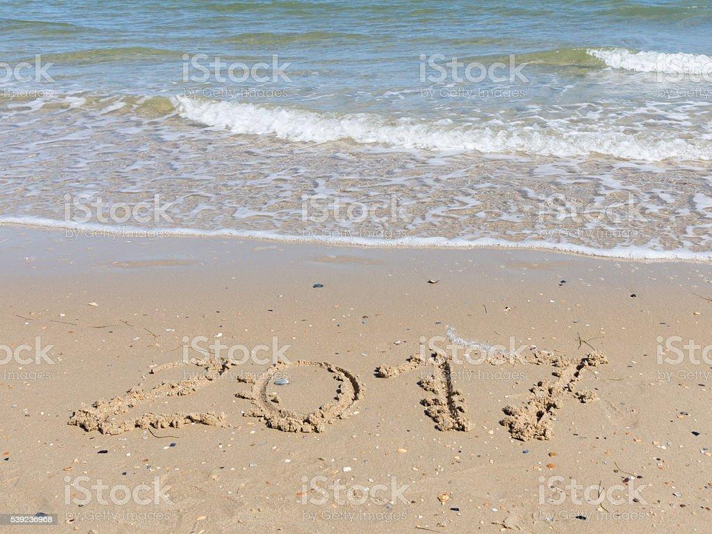 2017 on the sea beach royalty-free stock photo