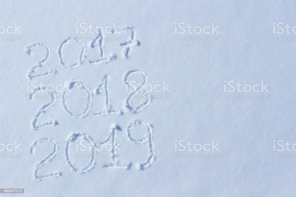 2019 on the snow for the new year and christmas stock photo