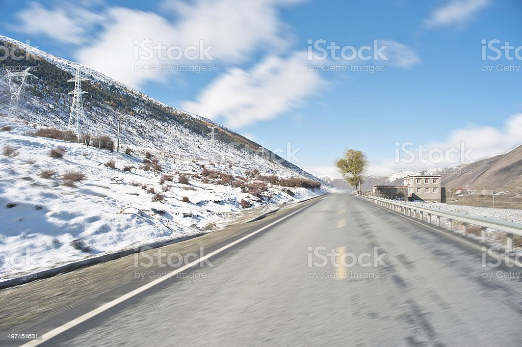 On the snowy plateau highway stock photo