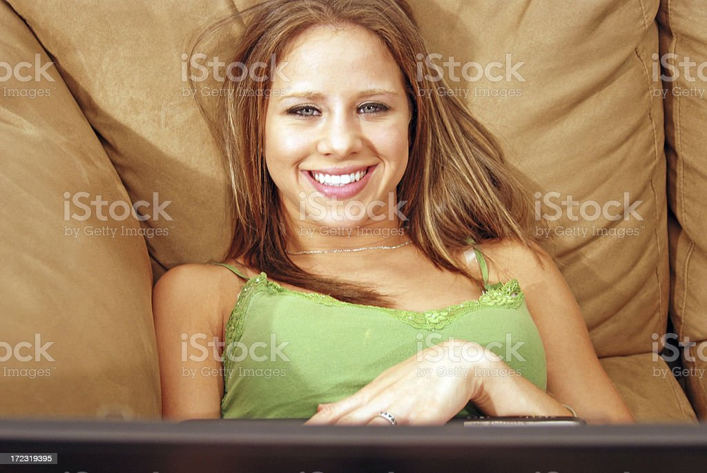 On the Sofa - Behind Laptop royalty-free stock photo