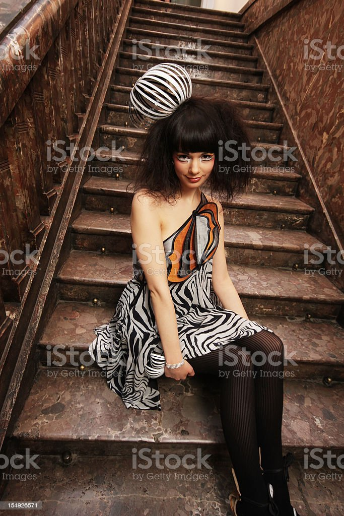 On the staircase royalty-free stock photo