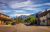 Canmore, Alberta: On the streets of Canmore in canadian Rocky Mountains. Canmore is located in the Bow Valley near Banff National Park and is a popular tourist destination.
