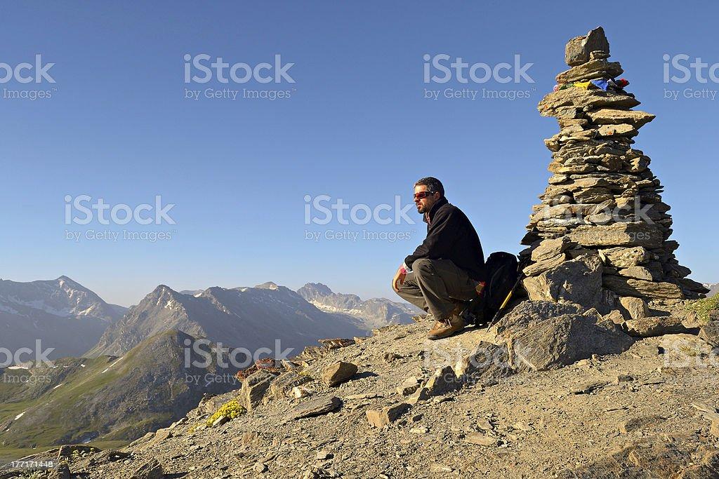 On the summit at sunrise royalty-free stock photo