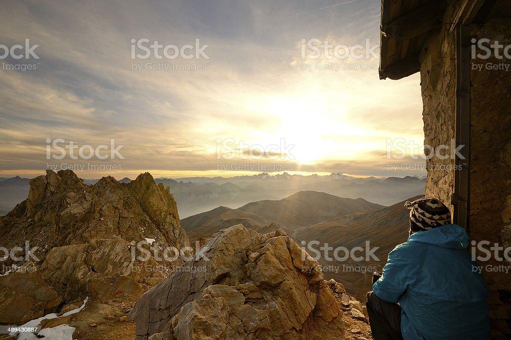 On the summit at sunset stock photo