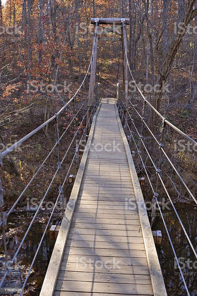 on the suspension bridge royalty-free stock photo