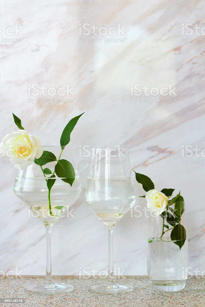 On the table there is a clear glass. Still-life with white roses. royalty-free stock photo