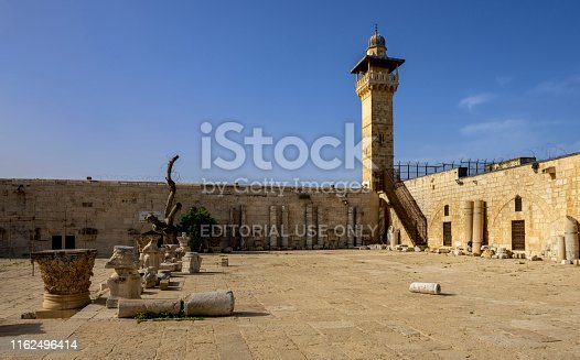East Jerusalem, Palestine, May 1, 2019: In front of the Islamic museum which is located in the Old City of Jerusalem near the al-Aqsa Mosque. On display are exhibits from ten periods of Islamic history encompassing several Muslim regions.