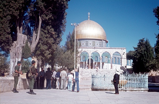 Jerusalem, Israel, 1976. The Temple Mount with the Al Aqsa Mosque in Jerusalem. Furthermore: Tourists, Israeli military and believers.
