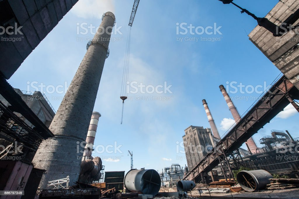 On the territory of the industrial plant outdoor stock photo