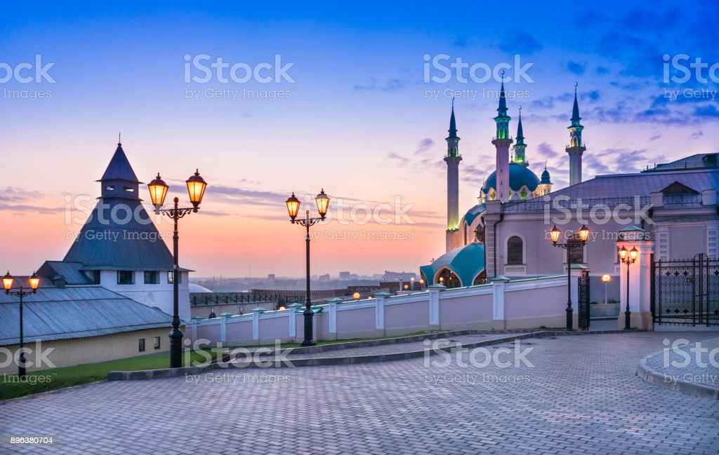 On the territory of the medieval fortress in Kazan stock photo