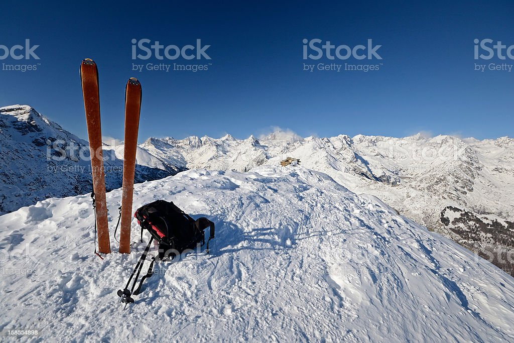 On the top by ski touring royalty-free stock photo