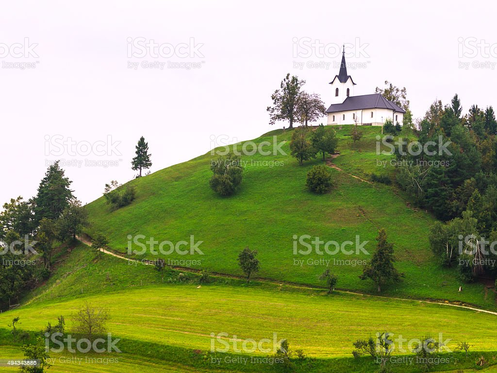 On the top of hill Church od St. James, Slovenia stock photo