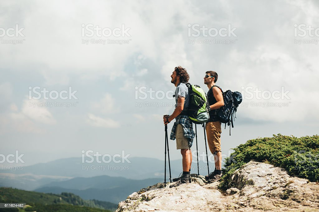 On the top of the mountain stock photo