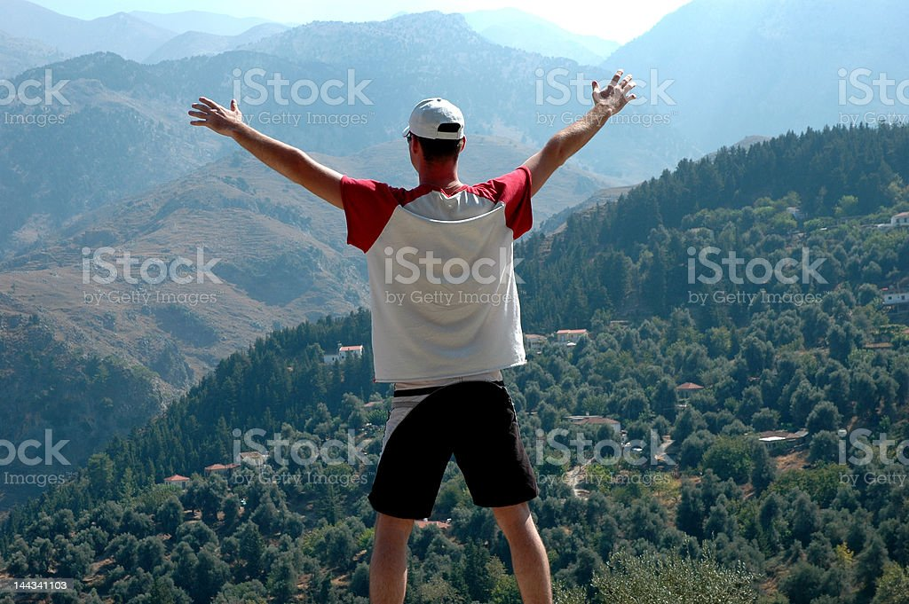 On the top of world stock photo