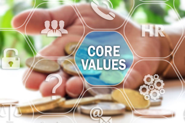 CORE VALUES on the touch screen to the network, on blur financial background stock photo