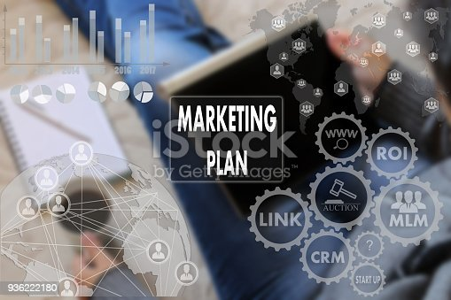 860524646istockphoto MARKETING PLAN on the touch screen with a blur the girl with the gadget, background .The concept of MARKETING PLAN 936222180
