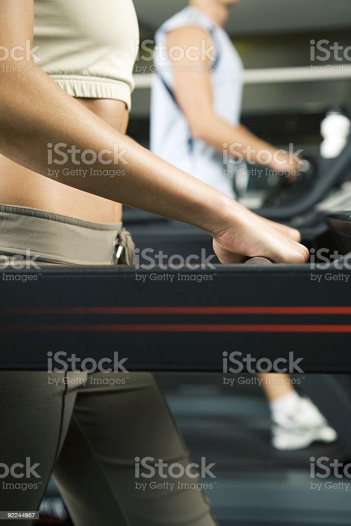 On the treadmill royalty-free stock photo