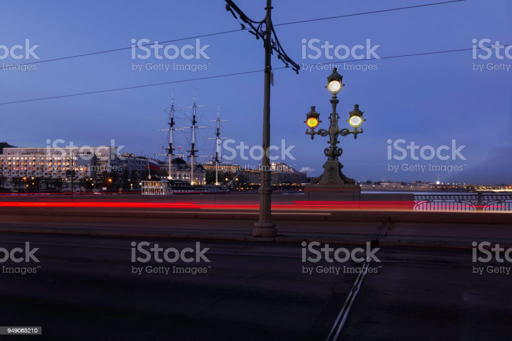 on the Trinity Bridge in the evening, St. Petersburg stock photo