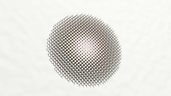 istock PATTERN on the wall. 3D illustration of metallic sculpture over a white background with mild texture. abstract and seamless 1264403014