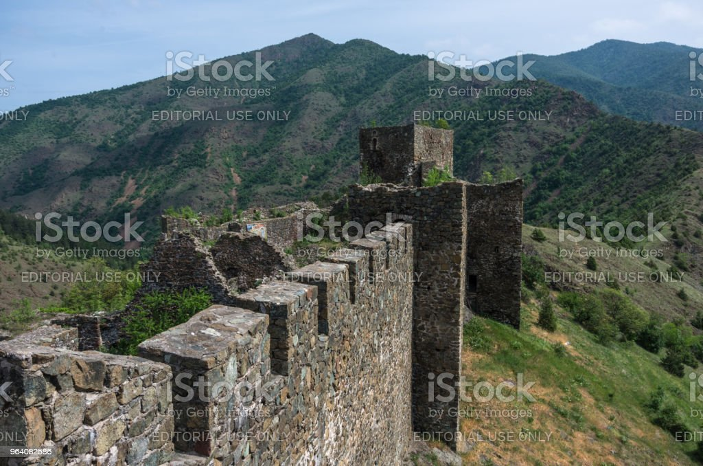 On the wall of medieval fortress Maglic, mountain range at background , Serbia - Royalty-free Ancient Stock Photo