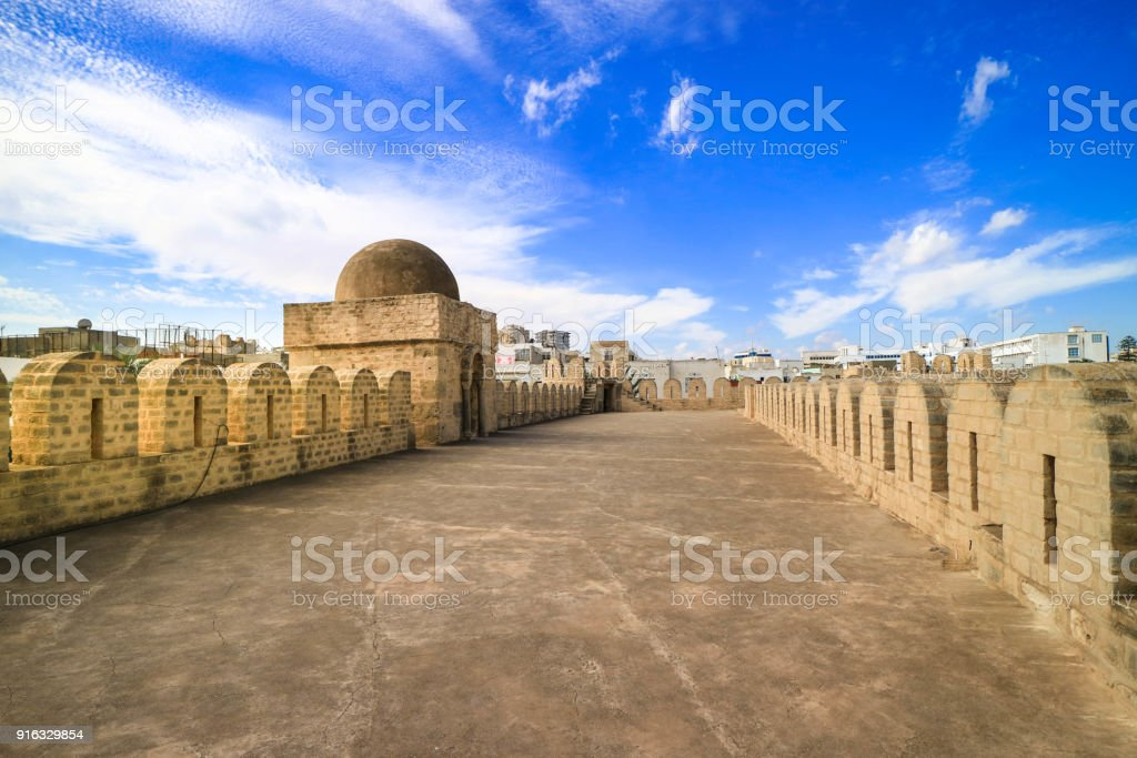 On the Walls of the Great Mosque with blue sky stock photo