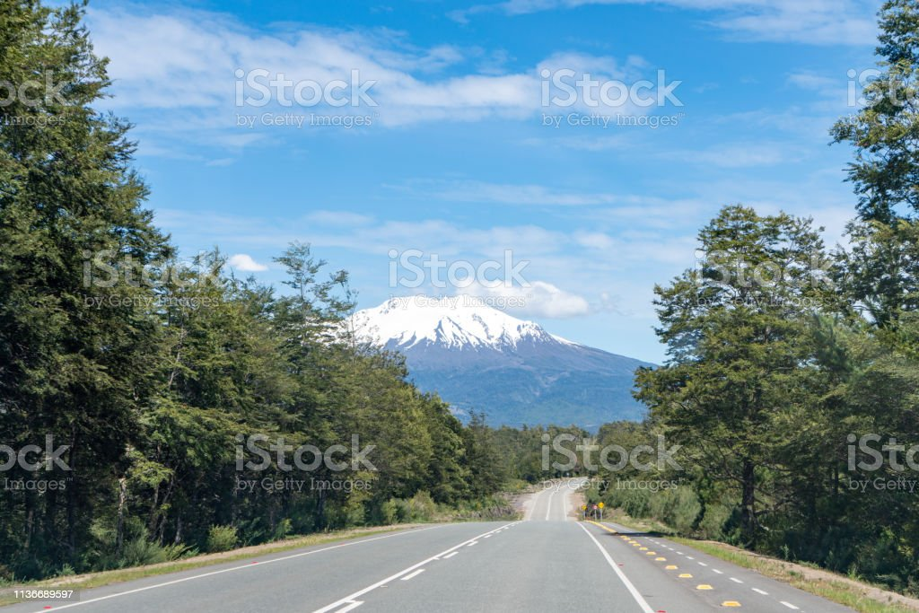 On the way going to Osorno Volcano in Chilean Lake District - Puerto Varas, Chile stock photo