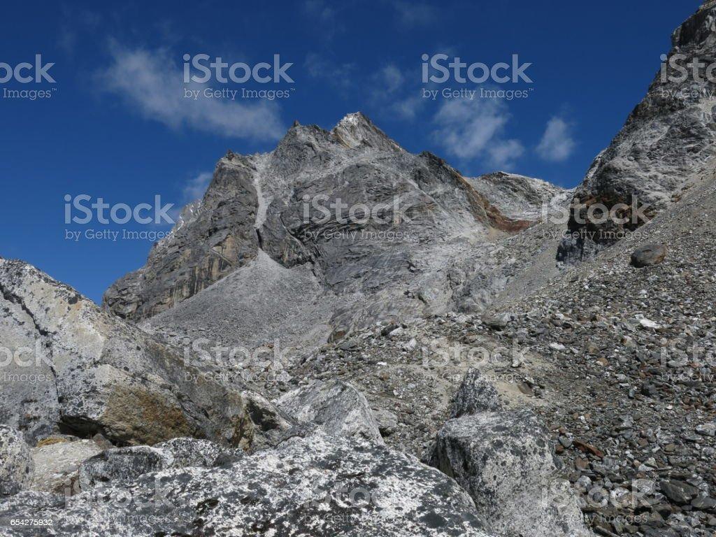 On the way to Cho La mountain pass stock photo