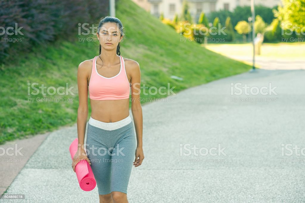On the way to gym. stock photo