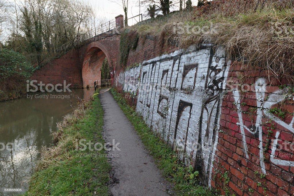 Graffiti on  Skew Bridge Wilts & Berks Canal stock photo