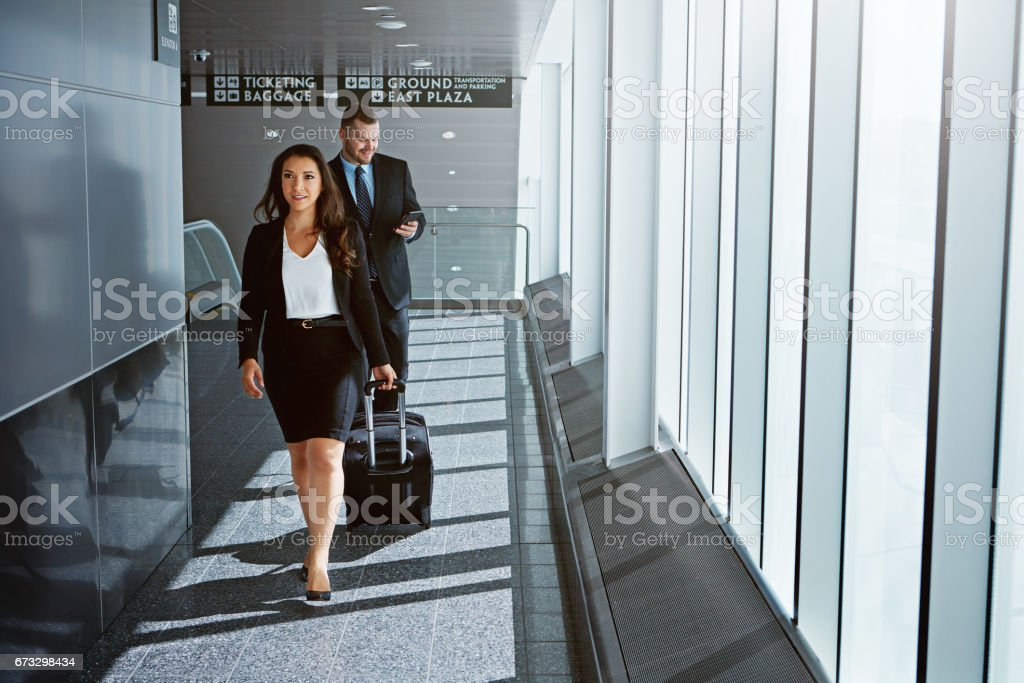 On their way to the business lounge royalty-free stock photo