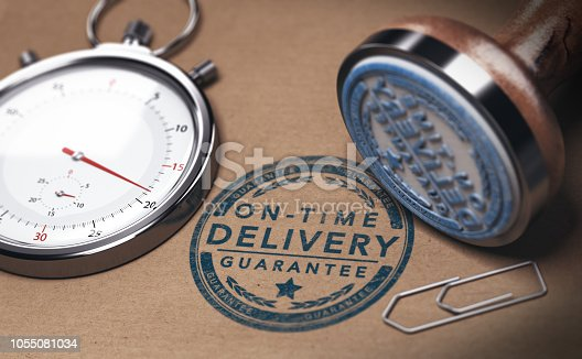 3D illustration of a stopwatch and a rubber stamp with the text on time delivery. Courier service punctuality concept