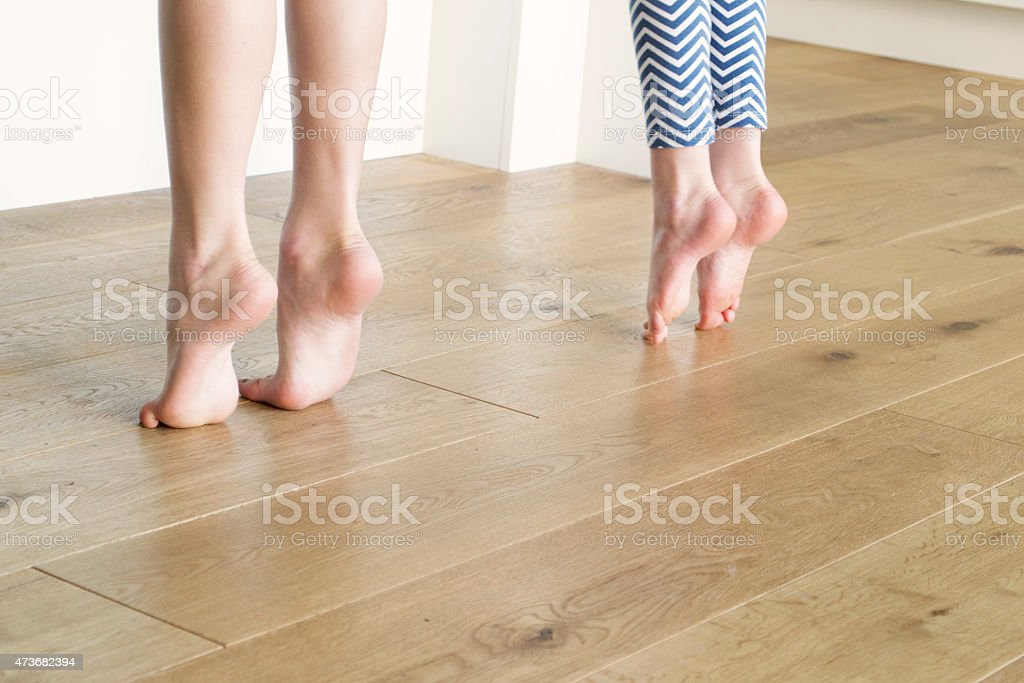 On tippy toes stock photo