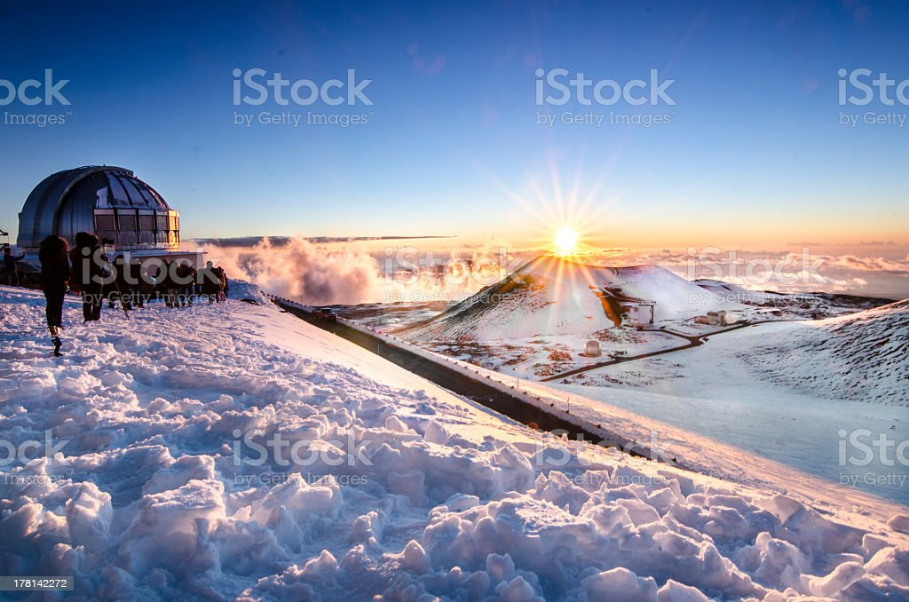 On top of Mauna Kea During Winter, Hawaii stock photo