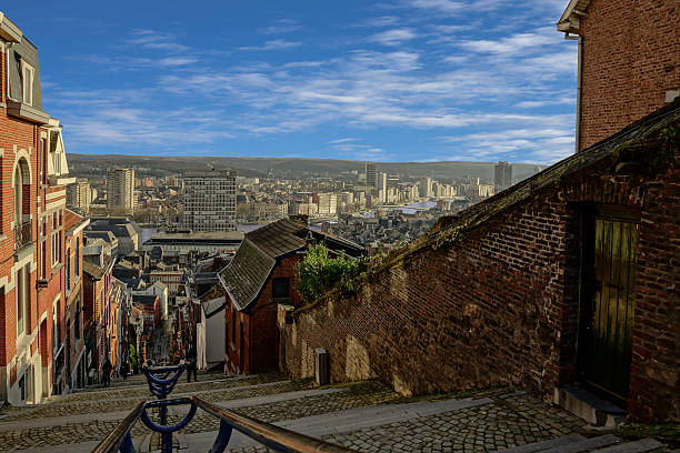 On top of montagne de bueren in Liege belgium. View over the belgium city Liege from the top of the stairs up to Montagne de bueren lulik stock pictures, royalty-free photos & images