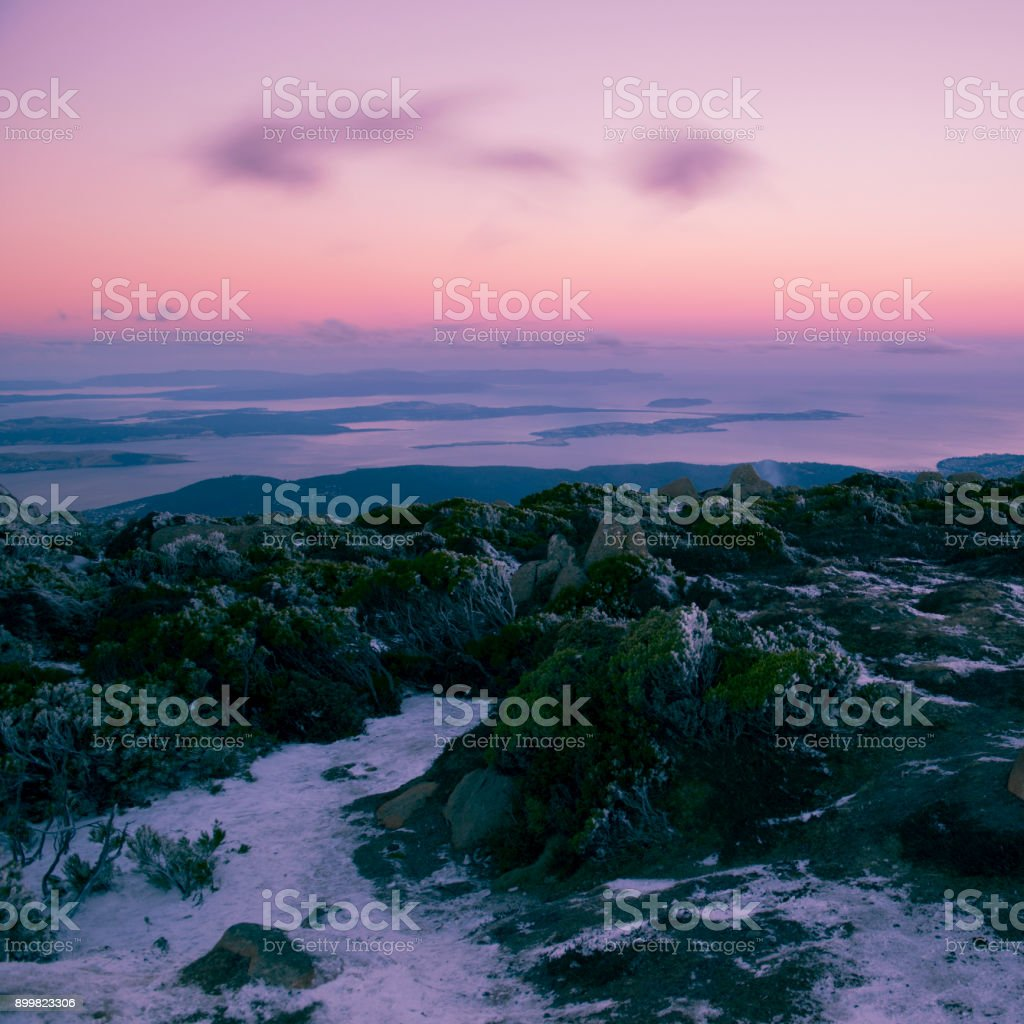 On top of Mount Wellington in Hobart, Tasmania during the day. stock photo