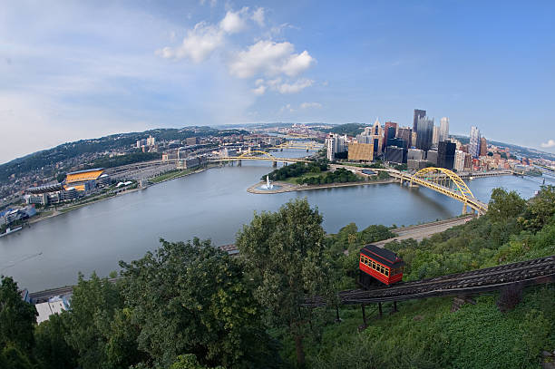 On Top Of The World In Pittsburgh A fisheye view of downtown Pittsburgh, Pennsylvania. pittsburgh bridge stock pictures, royalty-free photos & images
