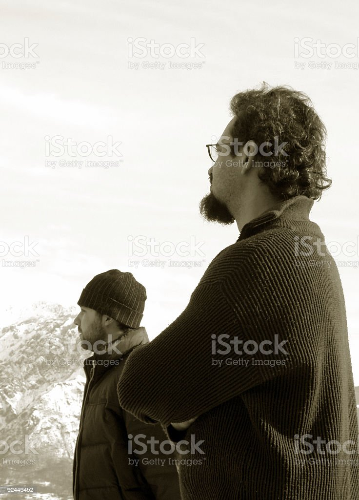 On top of the world Sepia royalty-free stock photo