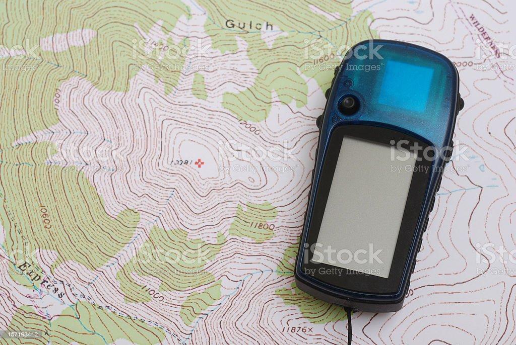 GPS on Topo Map royalty-free stock photo
