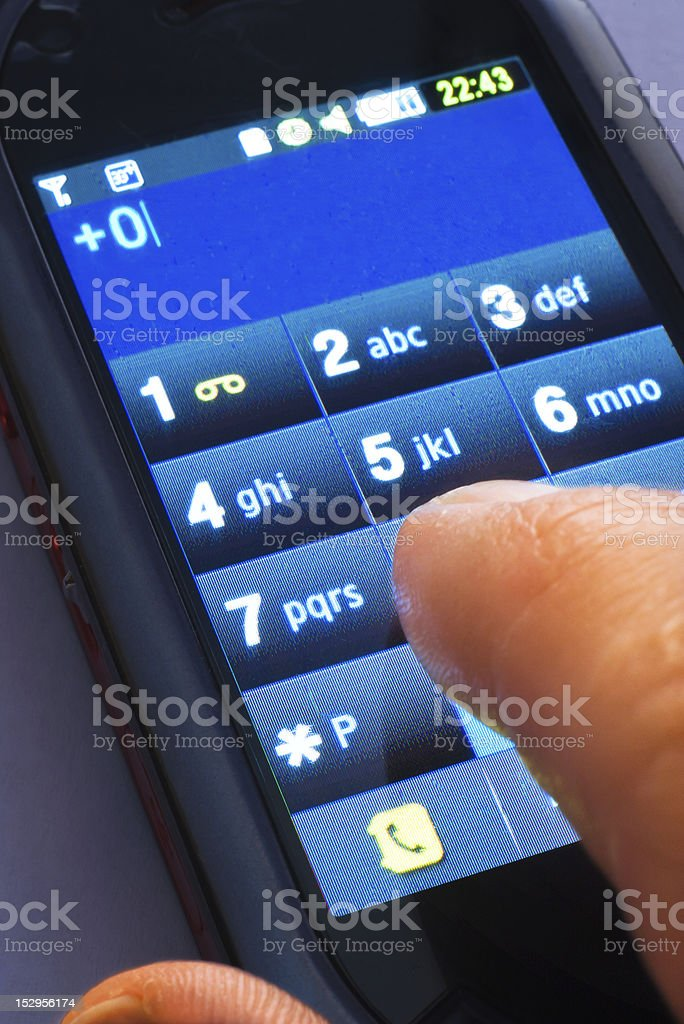 on touch screen phone royalty-free stock photo