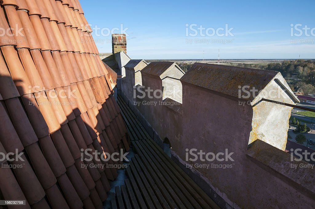 On tower of Church St. George in Pravdinsk (earlier Friedland). stock photo