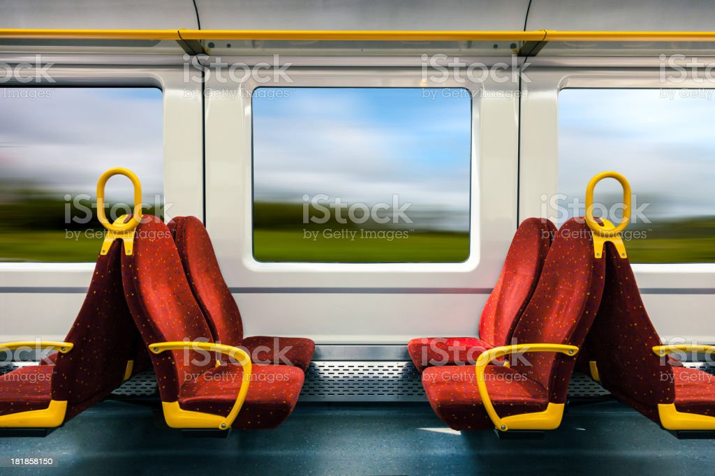 On travel in a fast train stock photo