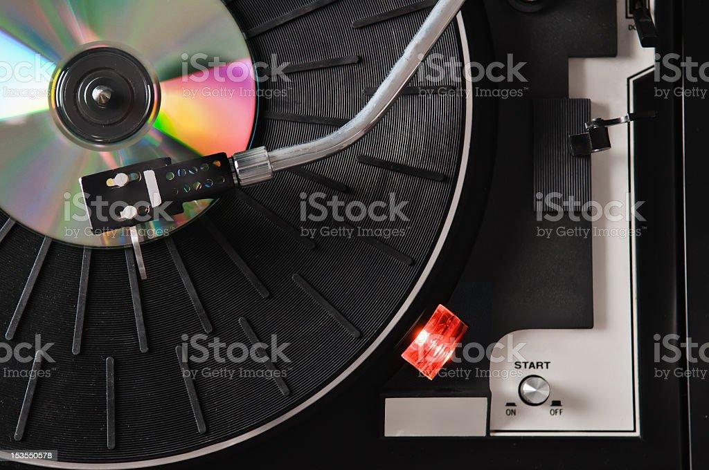 CD on turntable stock photo