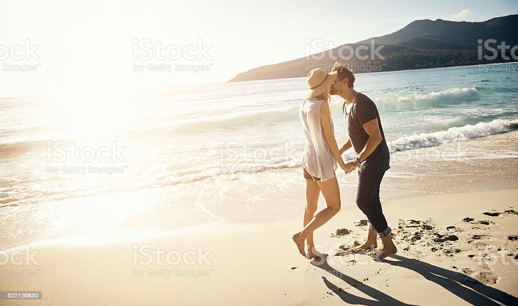 On vacation, you're bound to get sun kissed stock photo