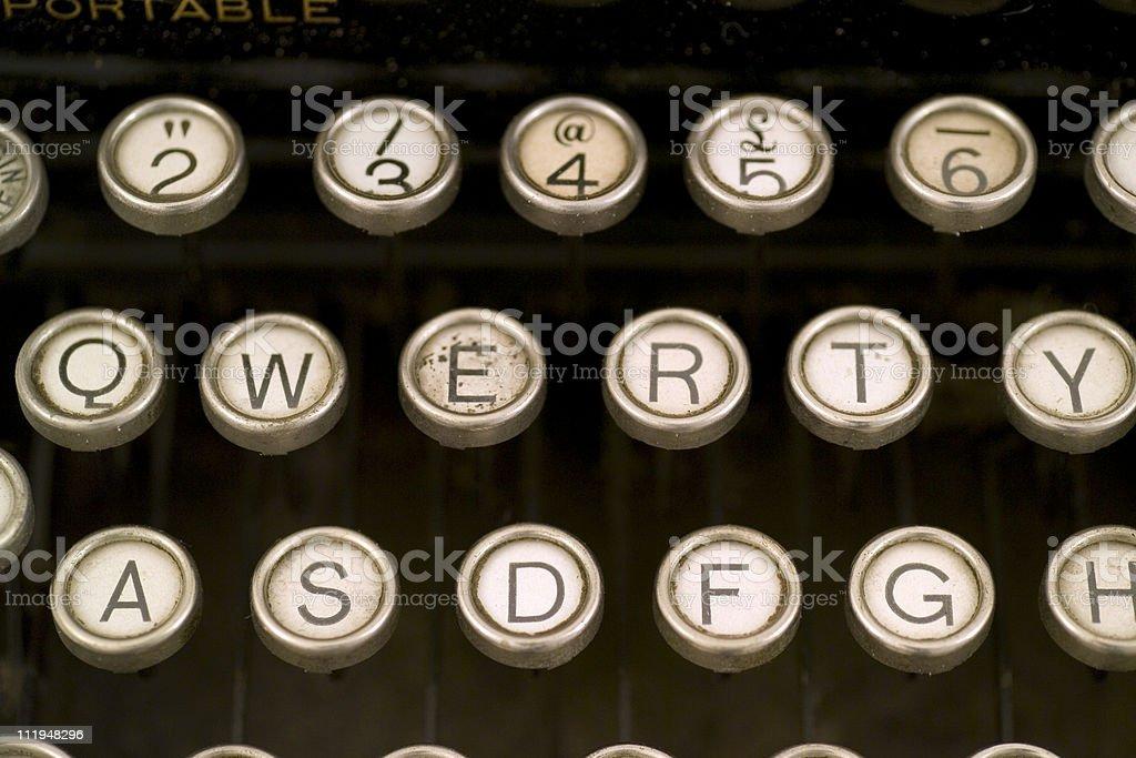 QWERTY on vintage typewriter keyboard royalty-free stock photo