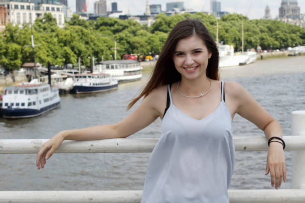 on waterloo bridge smiling bulgarian outdoor girl beauty river thames - whiteway bulgarian outdoor girl stock photos and pictures