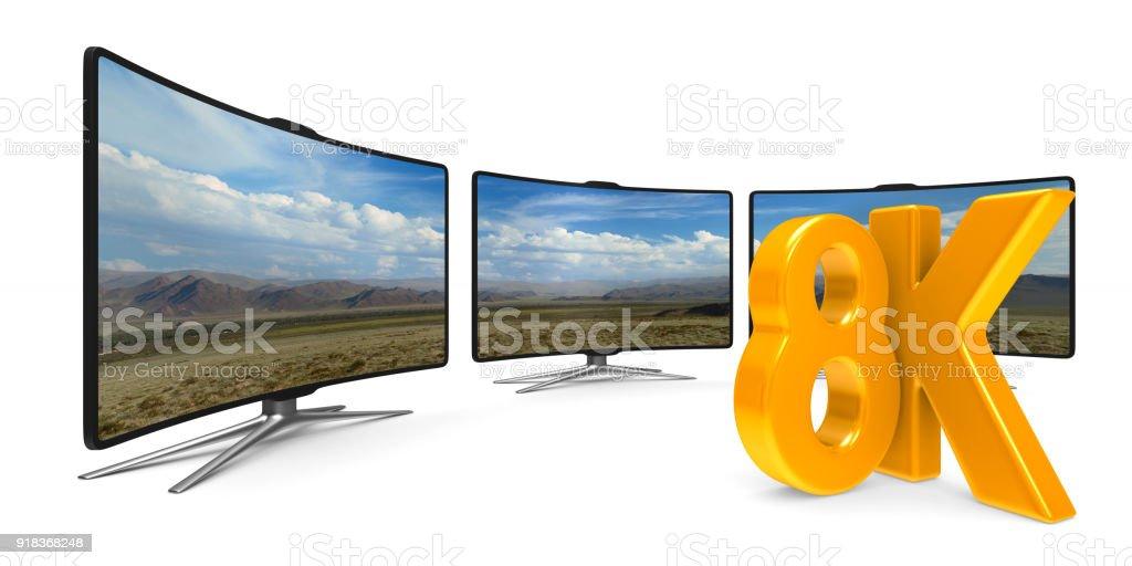 8K TV auf weißem Hintergrund. Isolierte 3D-Illustration – Foto