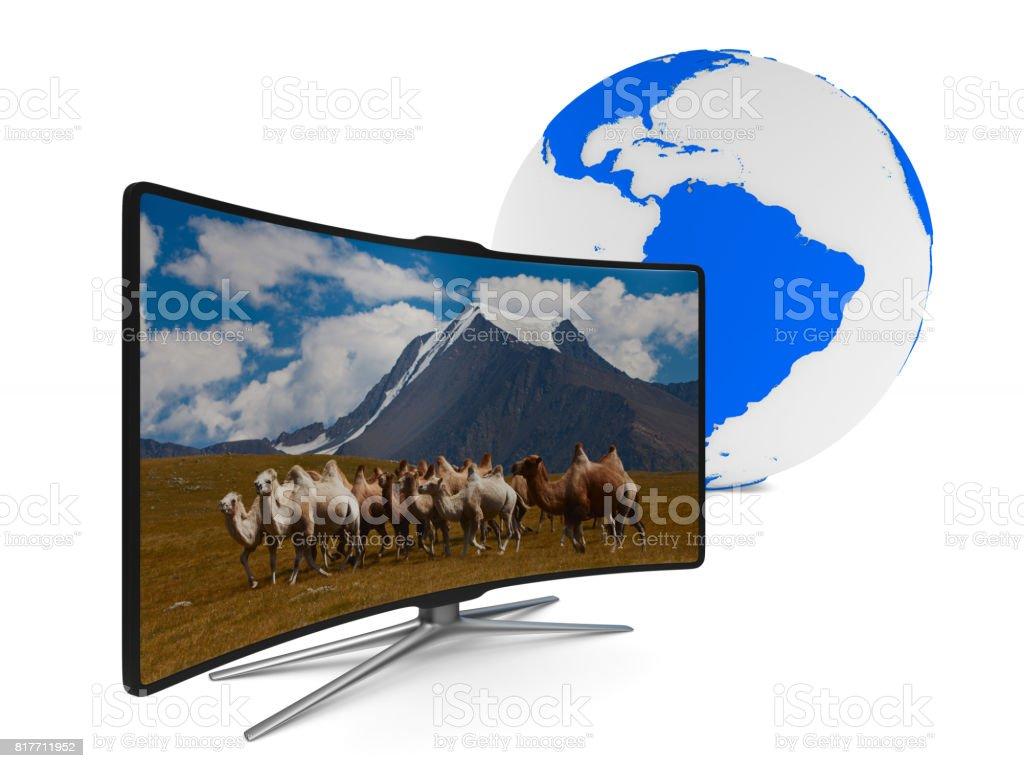 TV on white background. Isolated 3D image stock photo