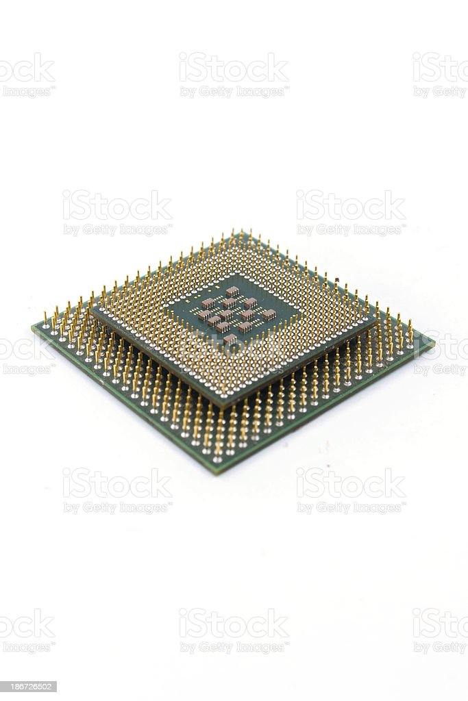 CPU on white background stock photo