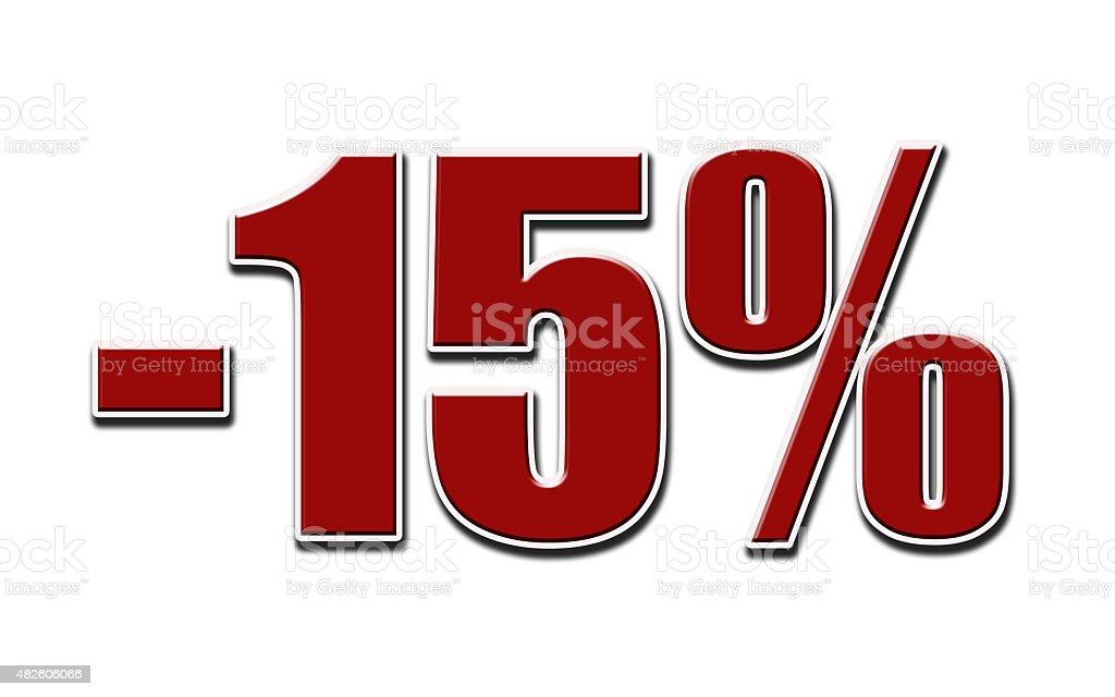 -15%  on white background stock photo