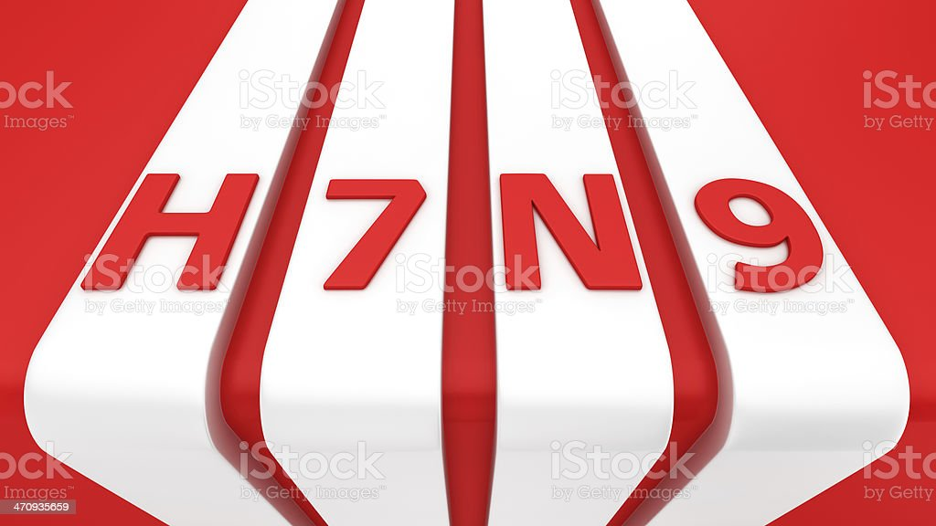 H7N9 on white stripes royalty-free stock photo